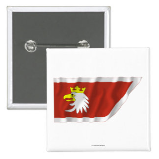 Warmińsko-mazurskie - Warmian-Masurian waving flag 15 Cm Square Badge
