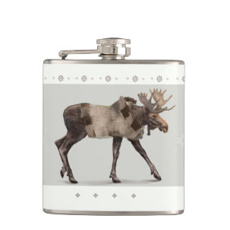 'Warmly Clothed Moose' Flask