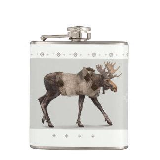 'Warmly Clothed Moose' Hip Flask