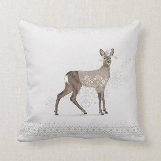 'Warmly Clothed Roe Deer' Throw Pillow