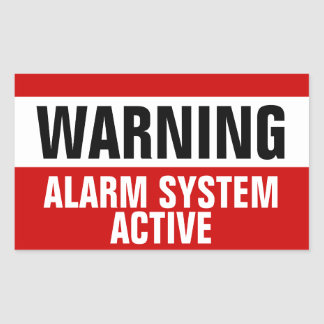 Warning Alarm System Active Stickers