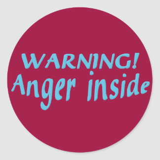 Warning Anger Inside Classic Round Sticker