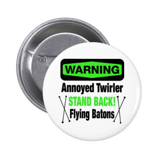 Warning Annoyed Twirler Green 6 Cm Round Badge