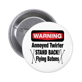 Warning Annoyed Twirler Red 6 Cm Round Badge