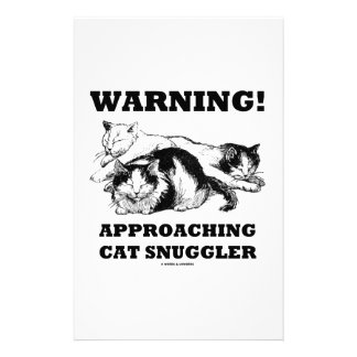 Warning! Approaching Cat Snuggler Three Cats Stationery