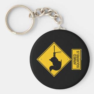 Warning Armed Squirrels Keychain