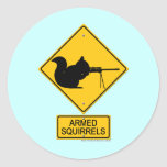 Warning Armed Squirrels Round Stickers
