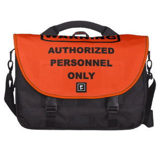 Warning authorized personnel only laptop messenger bag