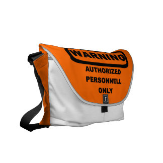 Warning authorized personnell only messenger bags