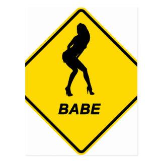 """Warning - Babe alert"" design Postcard"