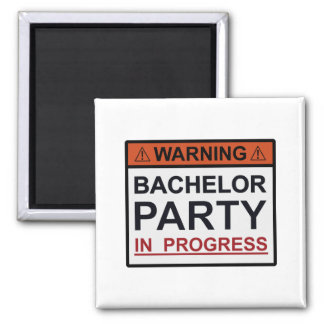 Warning Bachelor Party in Progress Refrigerator Magnets