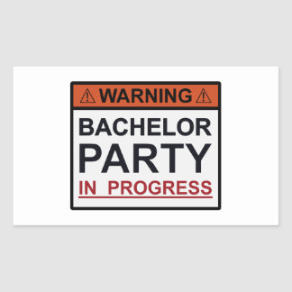 Warning Bachelor Party in Progress Rectangular Sticker
