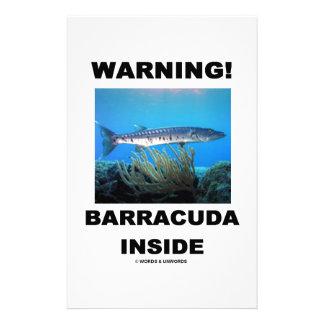 Warning! Barracuda Inside Custom Stationery