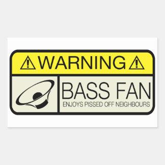 Warning Bass Fan! Rectangle Sticker