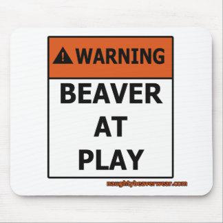 Warning Beaver At Play Mouse Mat