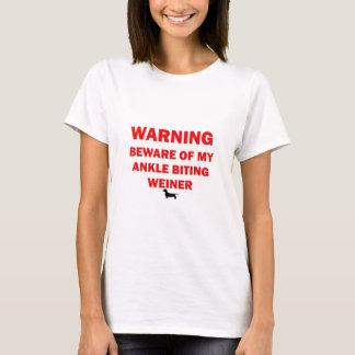 Warning Beware of Ankle Biting Weiner Dog T-Shirt