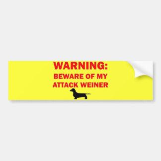 Warning Beware of Attack Weiner Dog Bumper Sticker