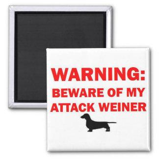 Warning Beware of Attack Weiner Dog Magnet