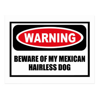 Warning BEWARE OF MY MEXICAN HAIRLESS DOG Postcard