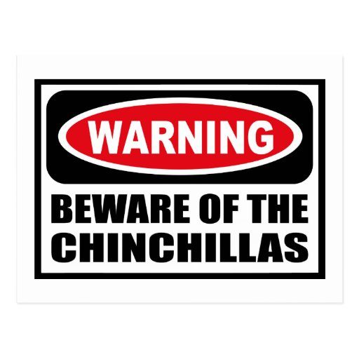 Warning BEWARE OF THE CHINCHILLAS Postcard