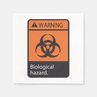 Warning Biological Hazard Paper Napkins