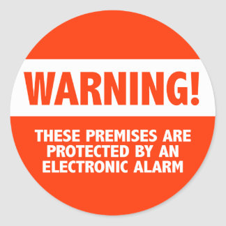 Warning Burglar Alarm Electronic Security Classic Round Sticker