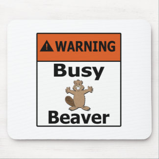Warning Busy Beaver Mouse Mat