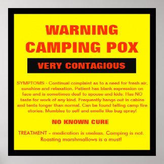 WARNING - CAMPING POX POSTER
