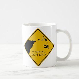 warning cliff edge basic white mug