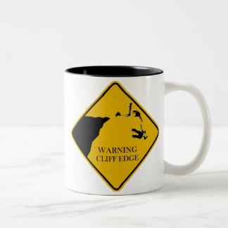 Warning Cliff Edge Two-Tone Coffee Mug