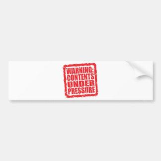 Warning Contents Under Pressure stamp Bumper Stickers