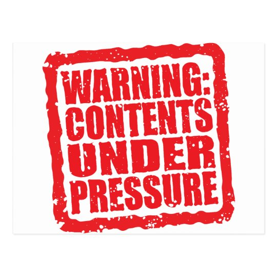 Warning: Contents Under Pressure stamp Postcard