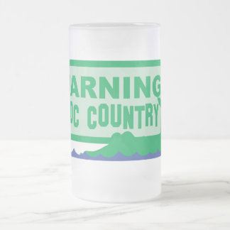 WARNING croc country! crocodile design Frosted Glass Beer Mug