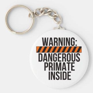 Warning: Dangerous Primate Inside Basic Round Button Key Ring