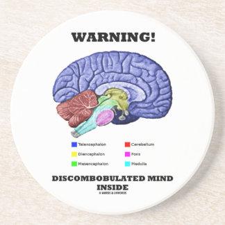 Warning! Discombobulated Mind Inside (Brain Humor) Coasters
