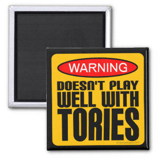 Warning: Doesn't Play Well With Tories Square Magnet