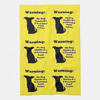 Warning Dog Tea Towel