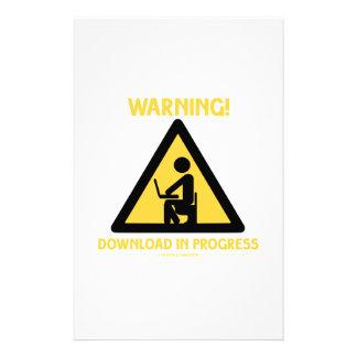 Warning! Download In Progress Geek Humor Signage Stationery Design
