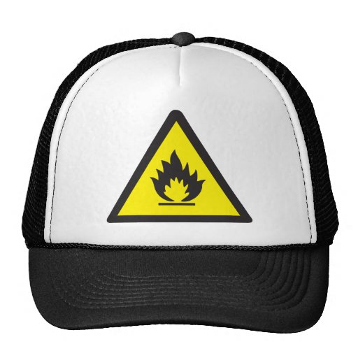 Warning Flammable Sign Trucker Hats