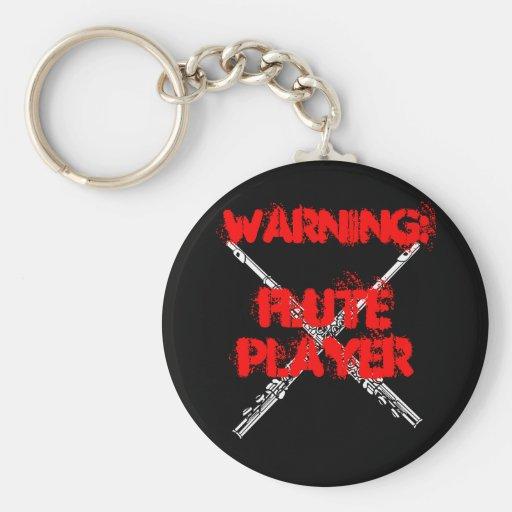 WARNING: Flute Player Keychain