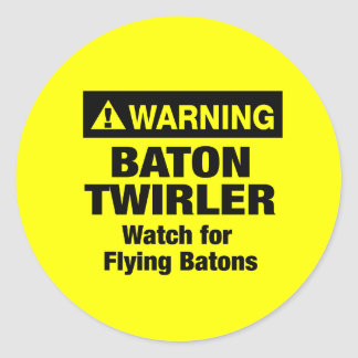 Warning Flying Batons Round Sticker