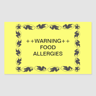 Warning Food Allergies Rectangle Stickers