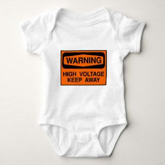warning high voltage baby bodysuit