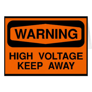 warning high voltage card