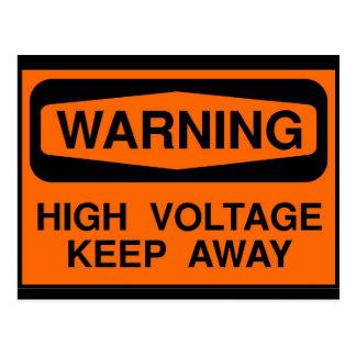 warning high voltage postcard