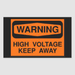 warning high voltage rectangle stickers