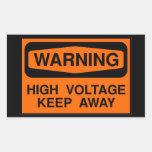 warning high voltage rectangular sticker