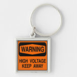 warning high voltage Silver-Colored square key ring
