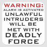 WARNING: HOME ALARM, DEADLY FORCE, CASTLE LAW STICKERS