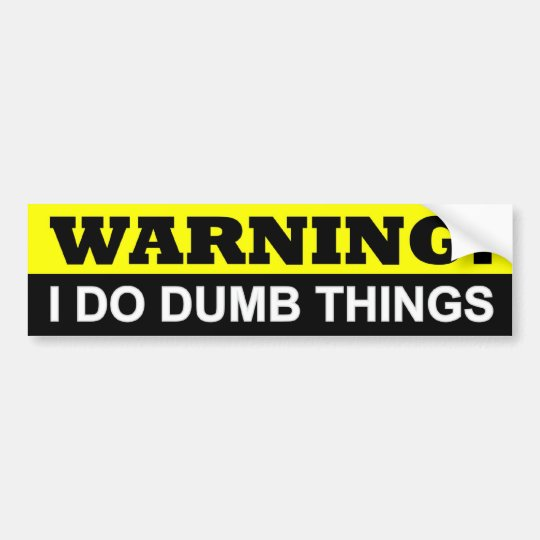WARNING I DO DUMB THINGS BUMPER STICKER